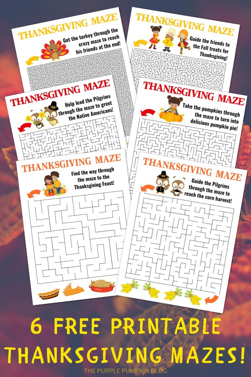 6 Free Printable Thanksgiving Mazes!