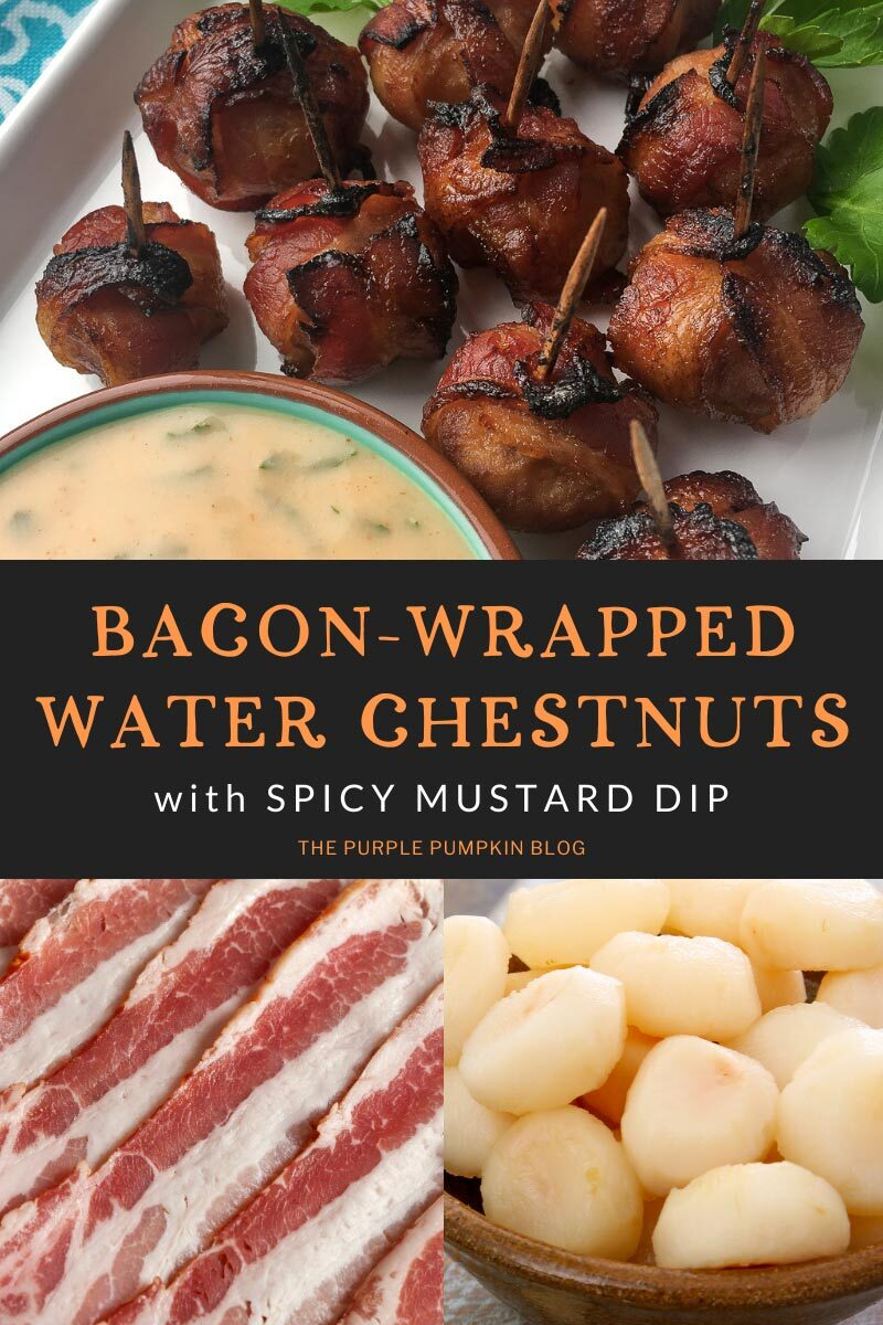 Bacon-Wrapped water Chestnuts with Spicy Mustard Dip