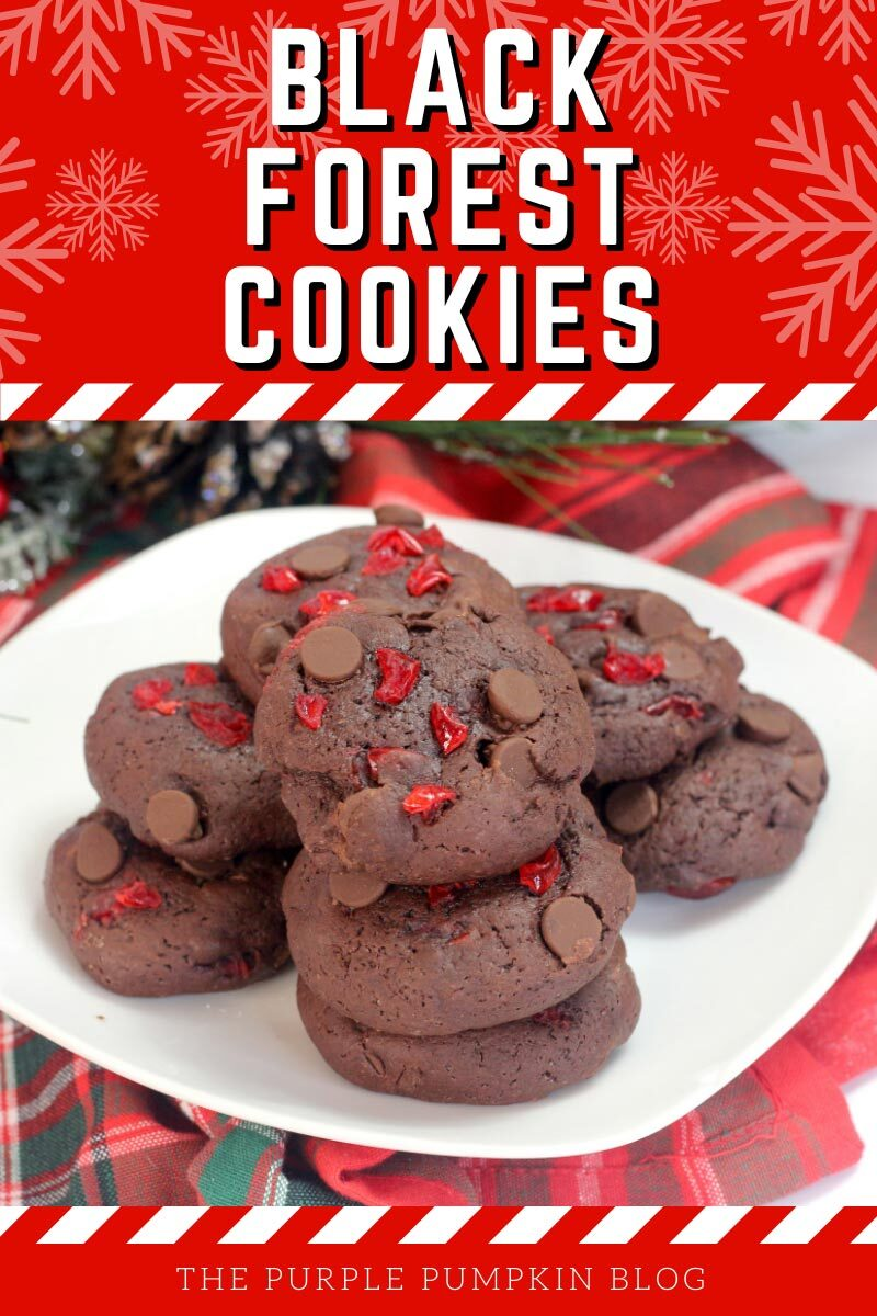 """A plate of chocolate chip and cherry cookies. Text overlay says""""Black Forest Cookies"""". Similar photos of the recipe/dish from various angles are used throughout and with different text overlay unless otherwise described."""