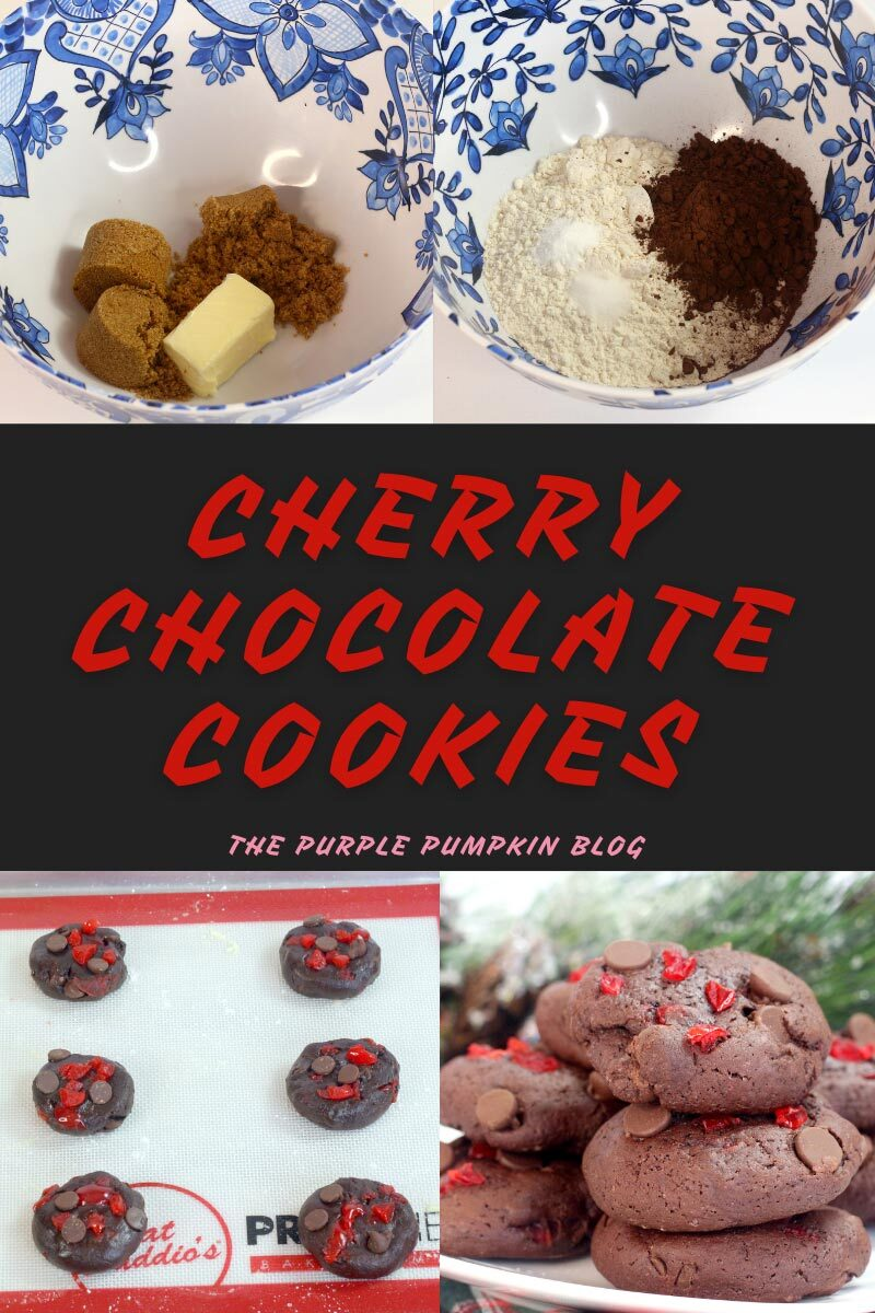 """Four images in one - a bowl of sugar and butter, another bowl of flour and cocoa, cookies on baking sheet, and baked cookies on a plate. Text overlay says""""Cherry Chocolate Cookies"""""""