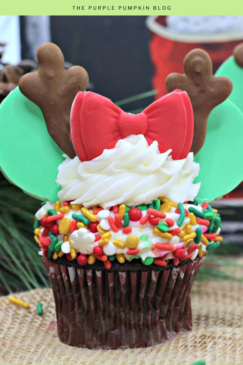 Chocolate Minnie Mouse Reindeer Cupcakes