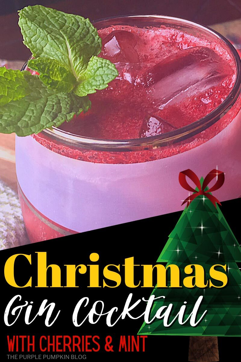 Christmas Gin Cocktail with Cherries & Mint
