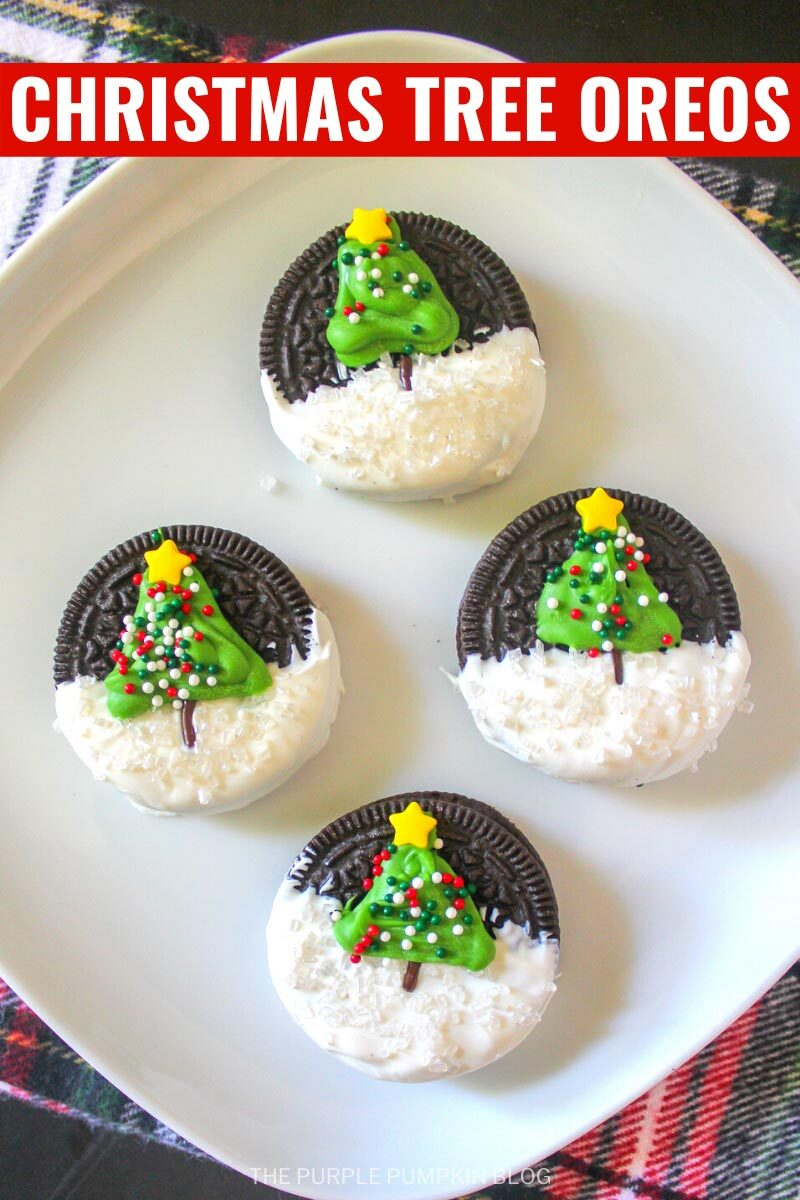 """A plate of Oreo cookies, half-dipped in white chocolate and a piped Christmas tree on top with sprinkles. Text overlay says""""Christmas Tree Oreos"""". Similar photos of the recipe/dish from various angles are used throughout and with different text overlay unless otherwise described."""
