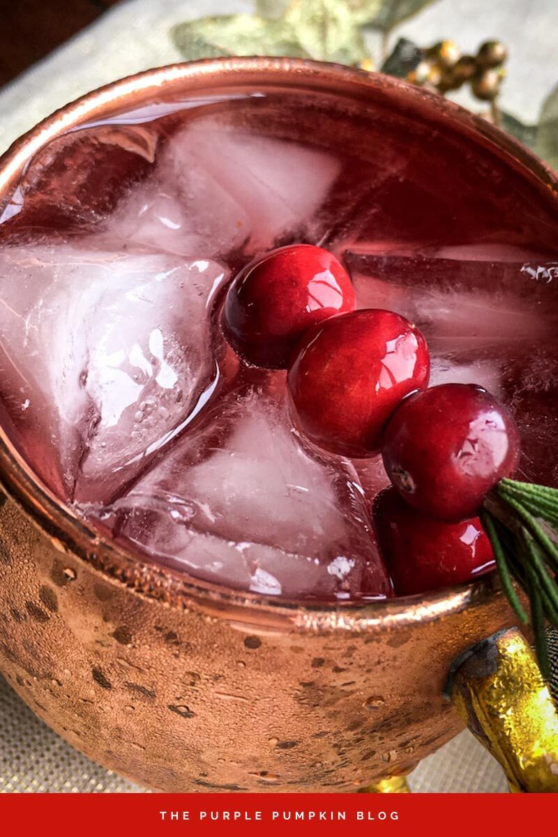 Cranberry Moscow Mule with Cranberry Rosemary Garnish