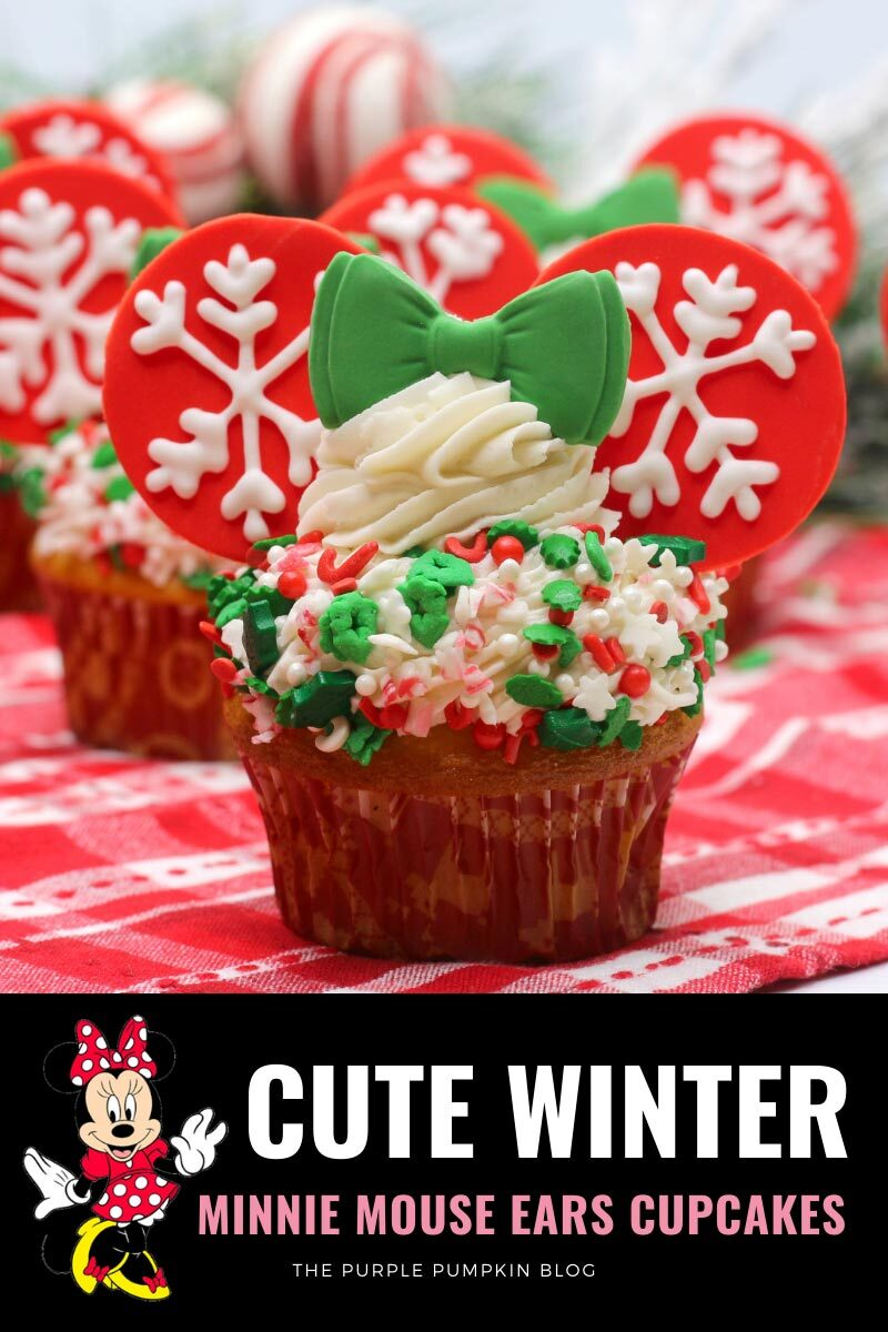 Cute Winter Minnie Mouse Ears Cupcakes