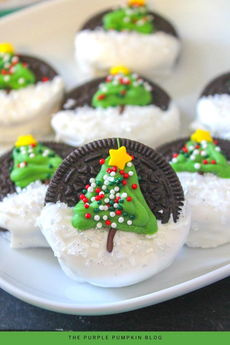 Decorating Oreos with Candy Melt Christmas Trees