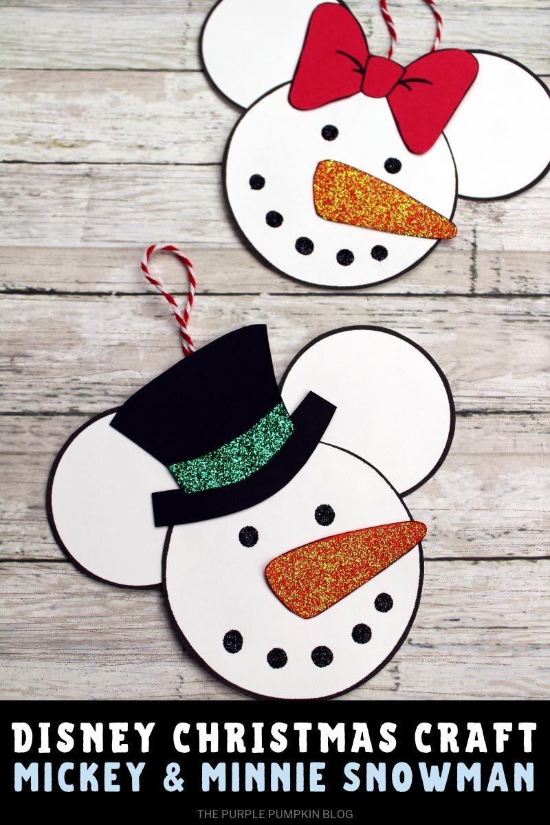 Disney Christmas Craft Mickey & Minnie Snowman