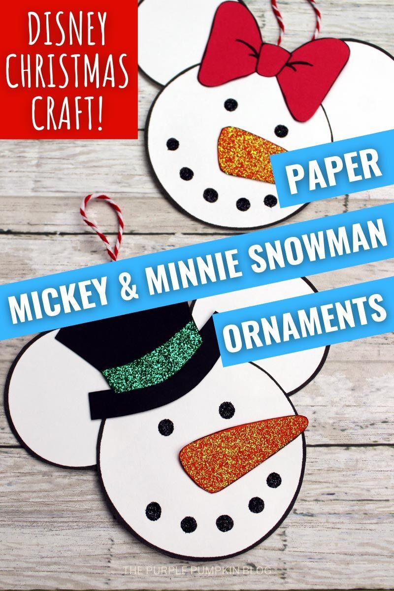 Paper Mickey & Minnie Snowman Ornaments
