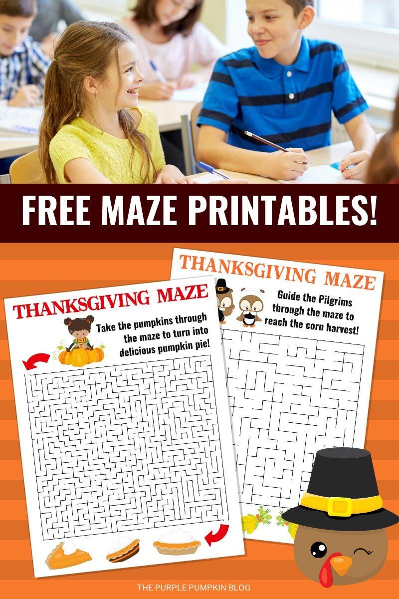 Free Maze Printables for Thanksgiving