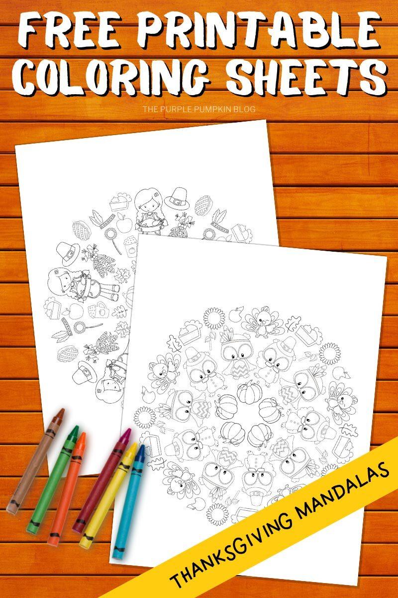Free Printable Coloring Sheets - Thanksgiving Mandalas