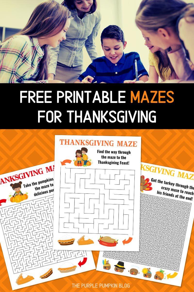 Free Printable Mazes for Thanksgiving