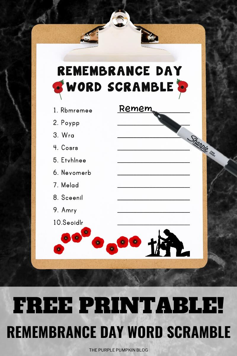 Free Printable Remembrance Day Word Scramble