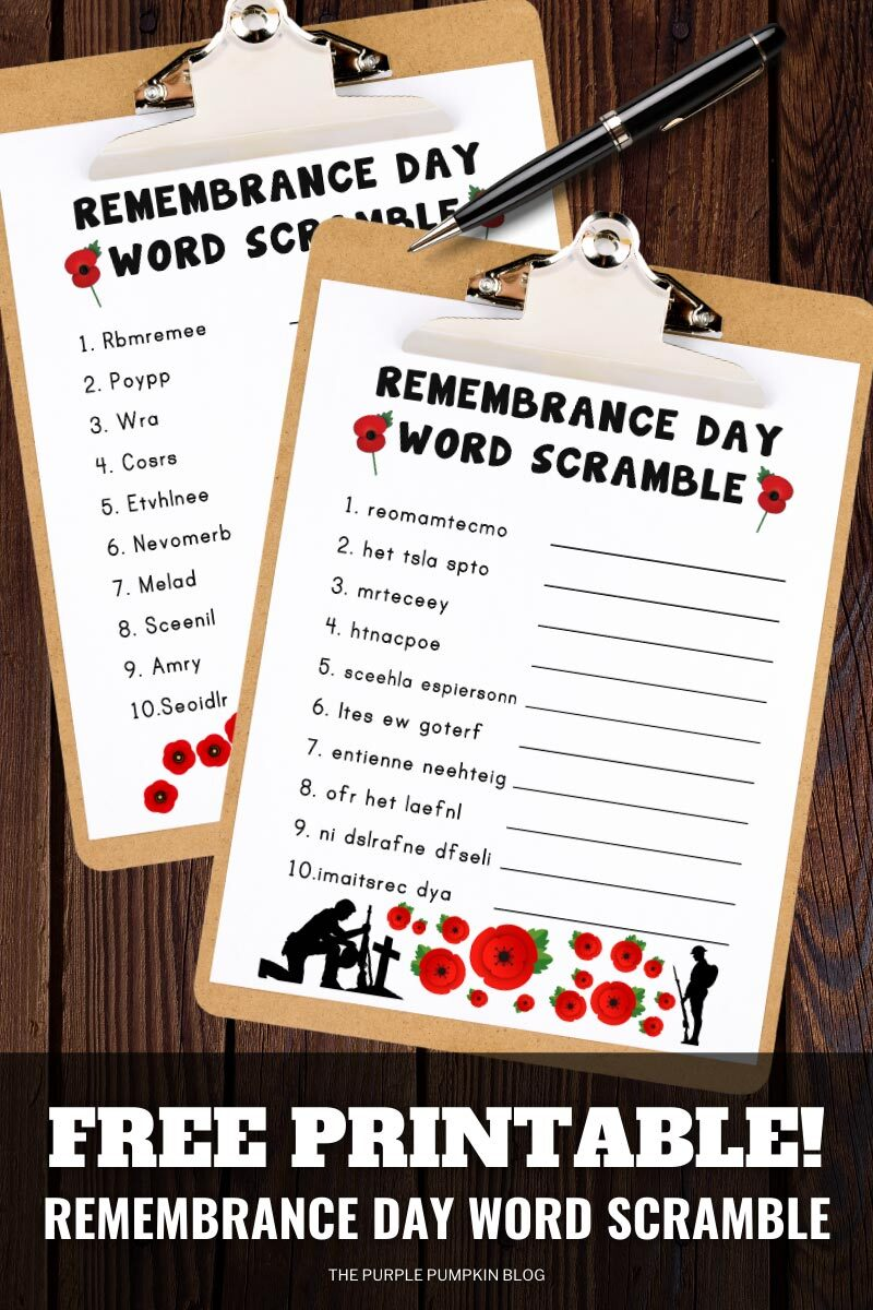 Free Printable Remembrance Day Word Scramble Puzzles