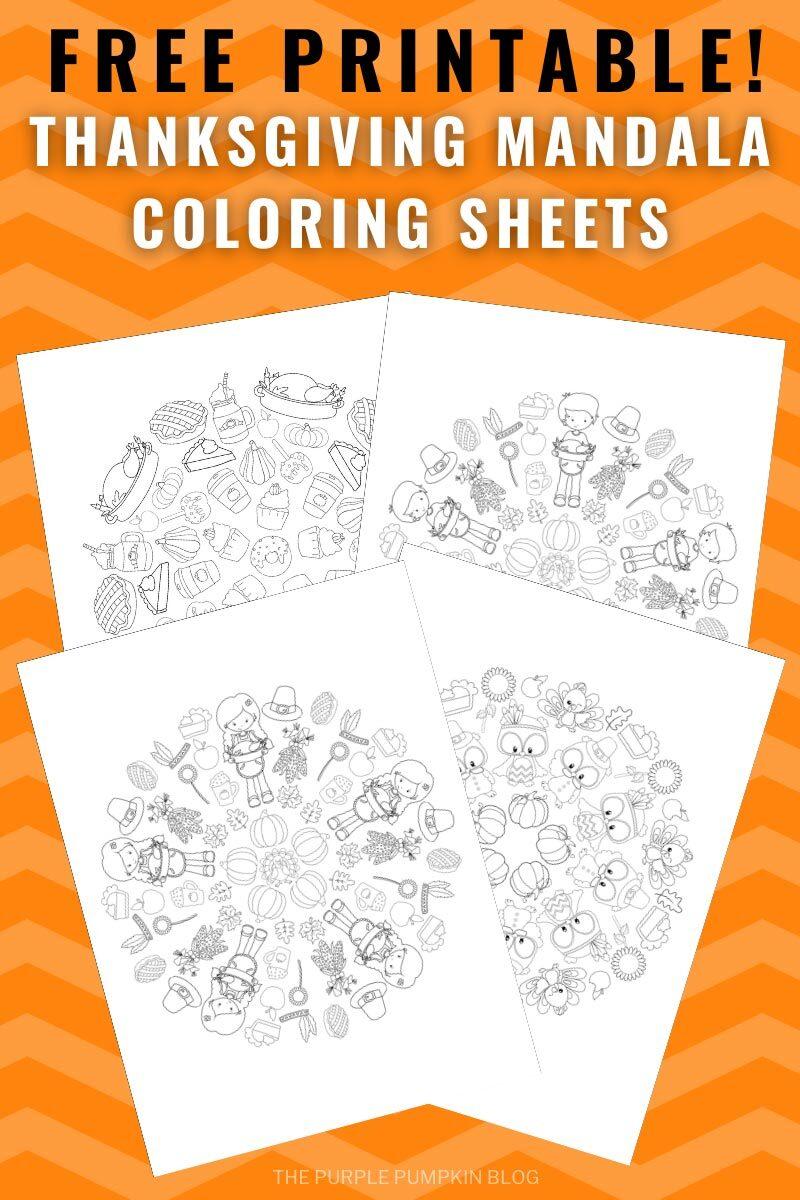 Free Printable! Thanksgiving Mandala Coloring Sheets