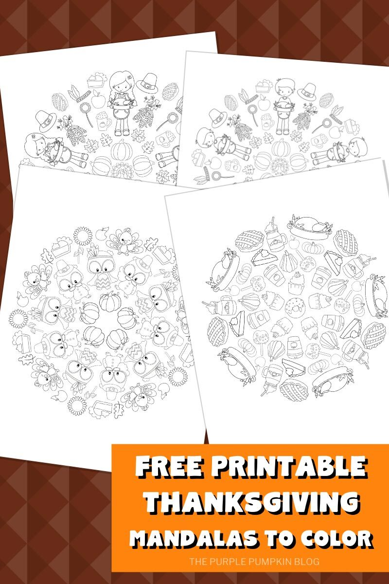 Free Printable Thanksgiving Mandalas to Color