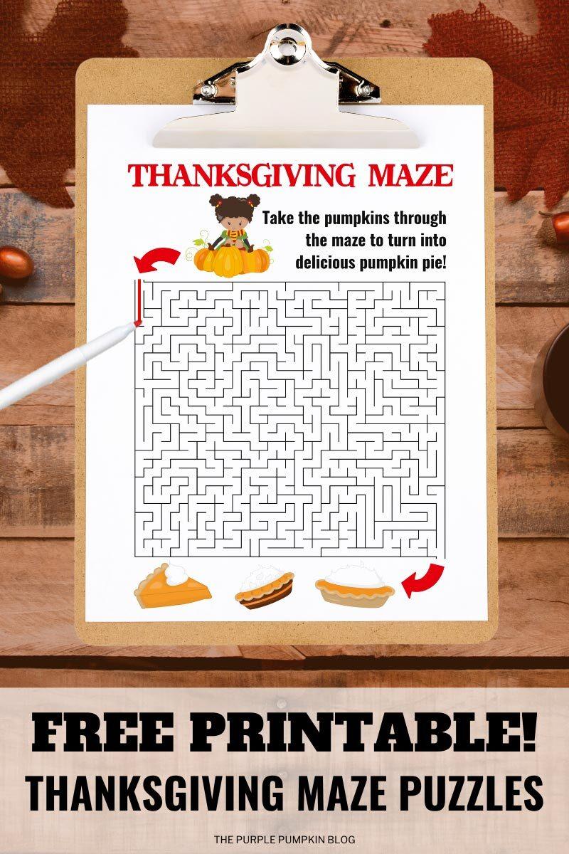 Free Printable Thanksgiving Maze Puzzles