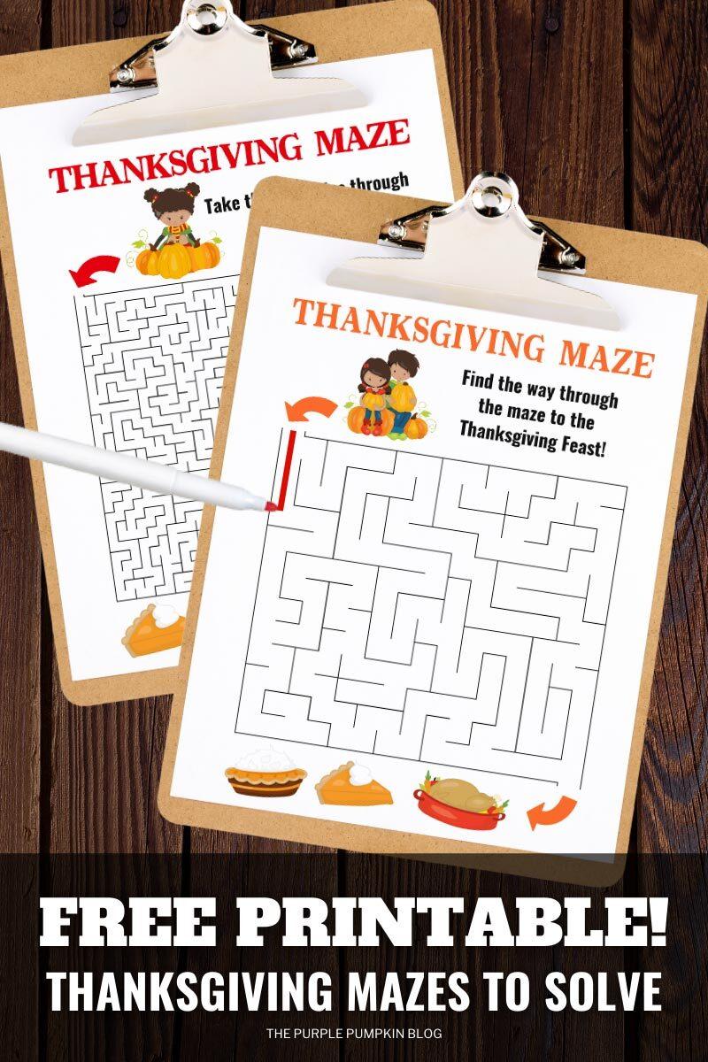Free Printable Thanksgiving Mazes to Solve