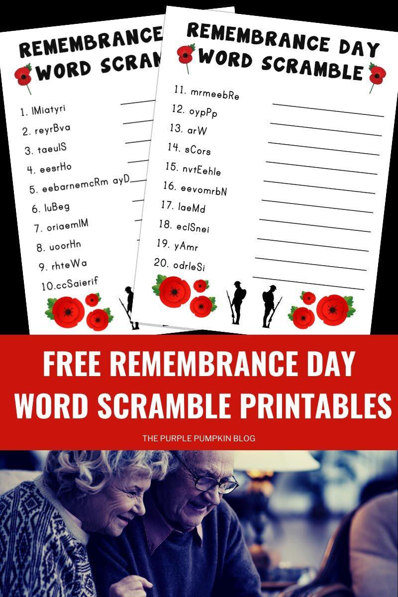 Free Remembrance Day Word Scramble Printables
