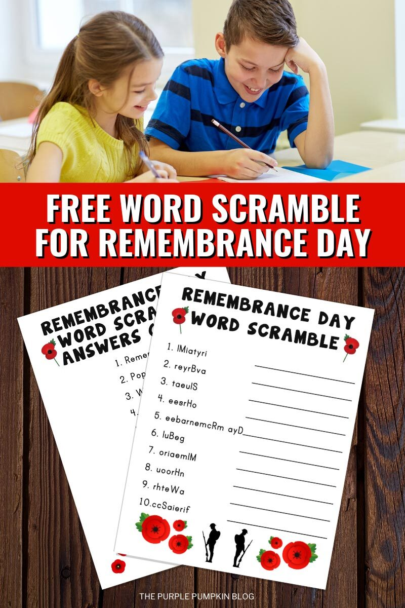Free Word Scramble For Remembrance Day