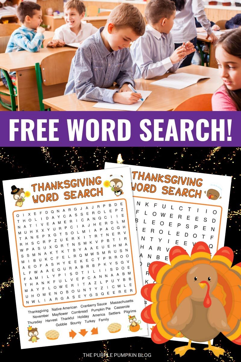 Free Word Search Puzzle for Thanksgiving