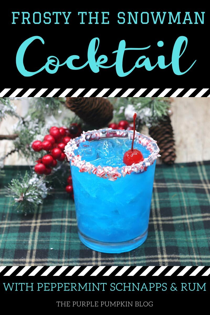Frosty the Snowman Cocktail with Peppermint Schnapps & Rum