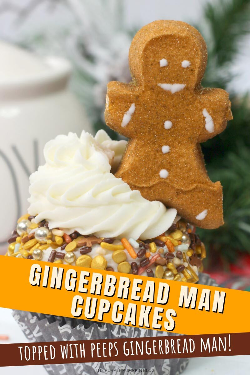 Gingerbread Man Cupcakes Topped with Peeps Gingerbread Man