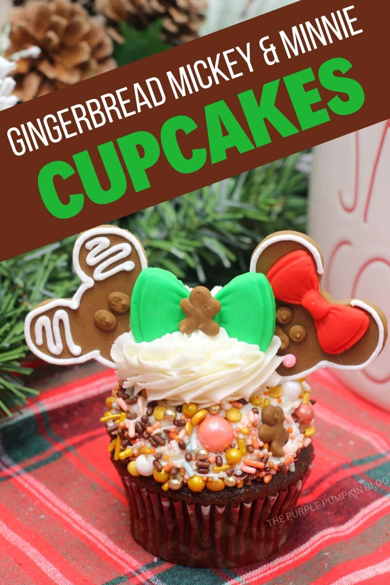 Gingerbread Mickey & Minnie Cupcakes for Christmas