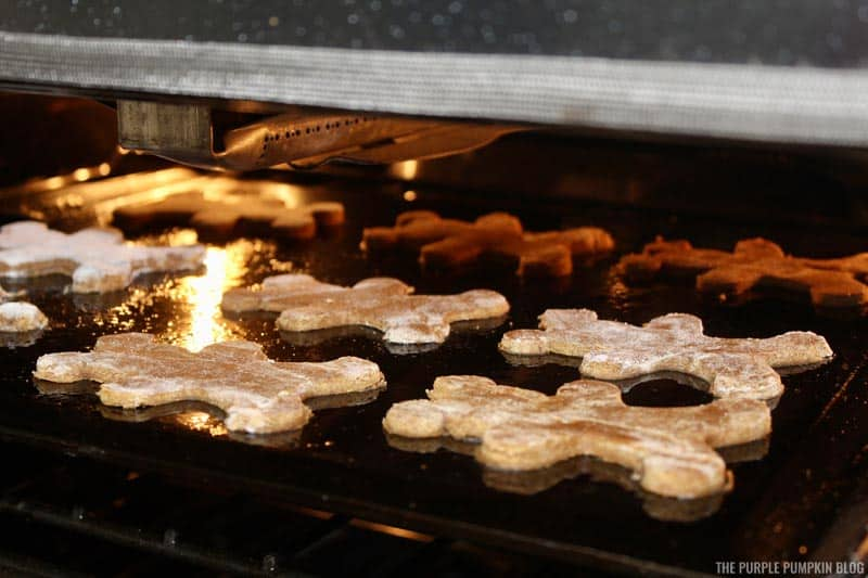 Gingerbread Mickey Mouse Cookies Baking in Oven