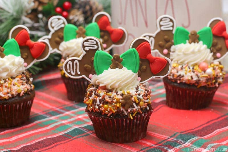 Gingerbread Mickey Mouse & Minnie Mouse Cupcakes