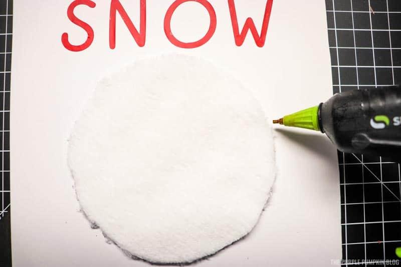 Gluing Snowman's Head to Card