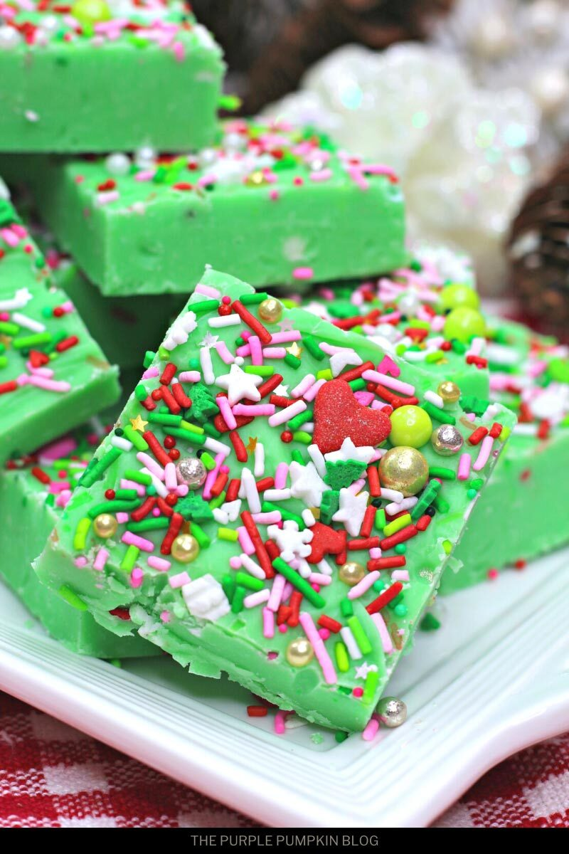Green Holiday Fudge with Sprinkles
