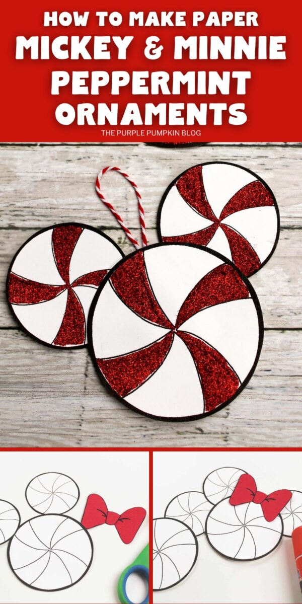 How To Make Paper Mickey & Minnie Peppermint Ornaments