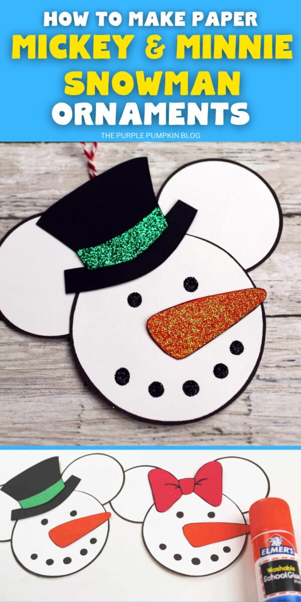 How To Make Paper Mickey & Minnie Snowman Ornaments