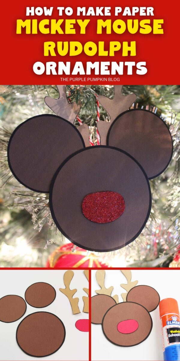How To Make Paper Mickey Mouse Rudolph Ornaments