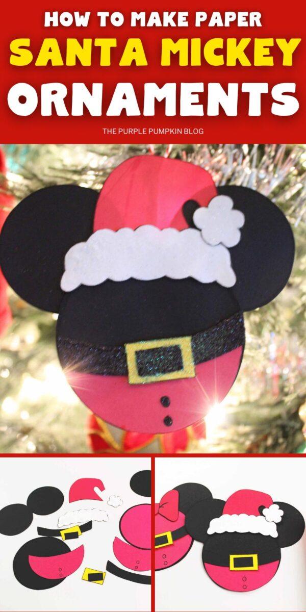 How To Make Paper Santa Mickey Ornaments