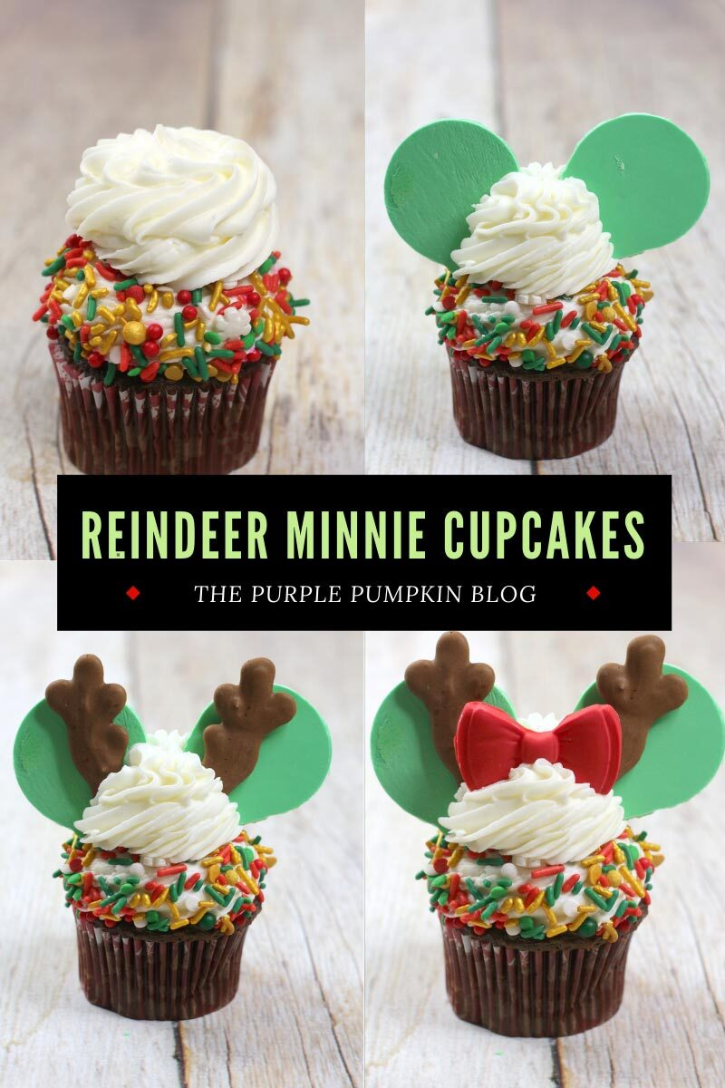 How To Make Reindeer Minnie Cupcakes. Four images of the different steps to make the cupcakes - frosted cupcake, then the frosted cupcake with the fondant ears, with the antlers, then finally with the bow.