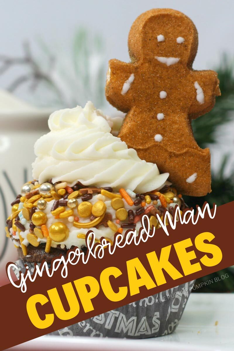 """A single cupcake topped with frosting and autumn-colored sprinkles with a gingerbread man peep marshmallow stuck on top. Text overlay says""""Gingerbread Man Cupcakes"""". Same cupcake featured throughout with different text overlay unless otherwise described."""