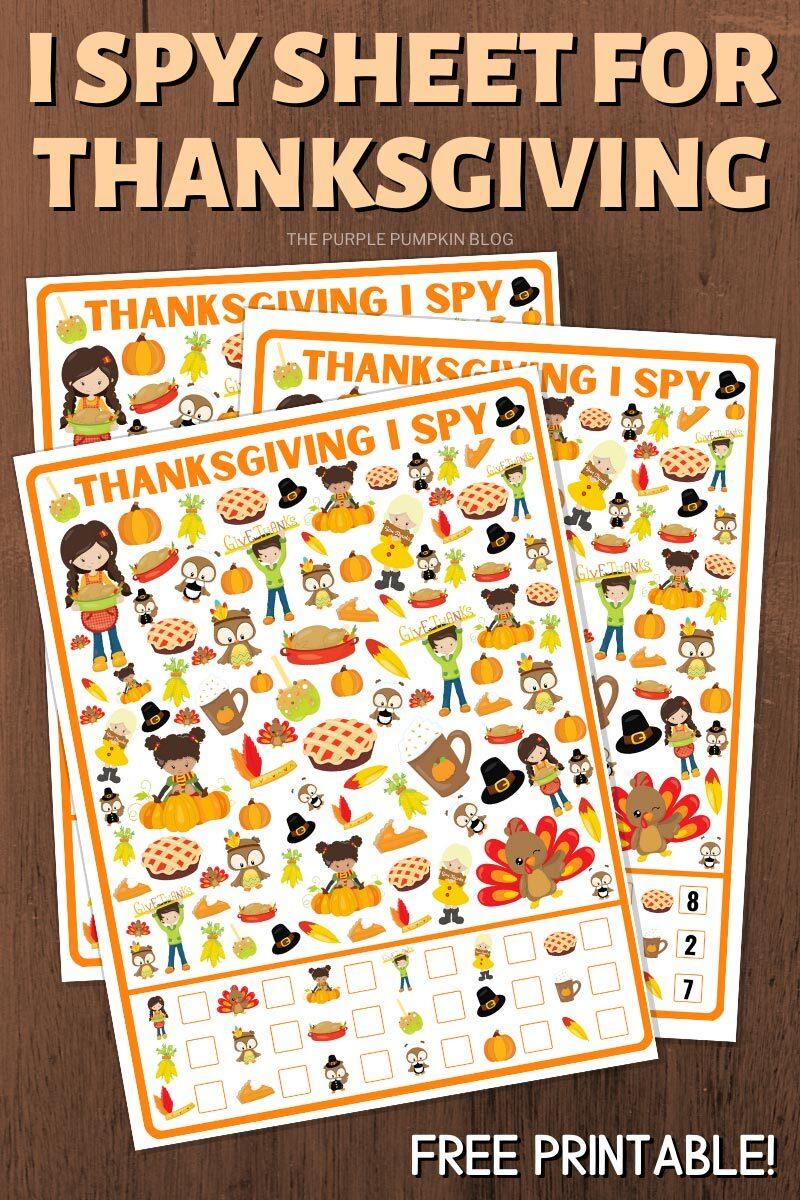 I Spy Sheet for Thanksgiving