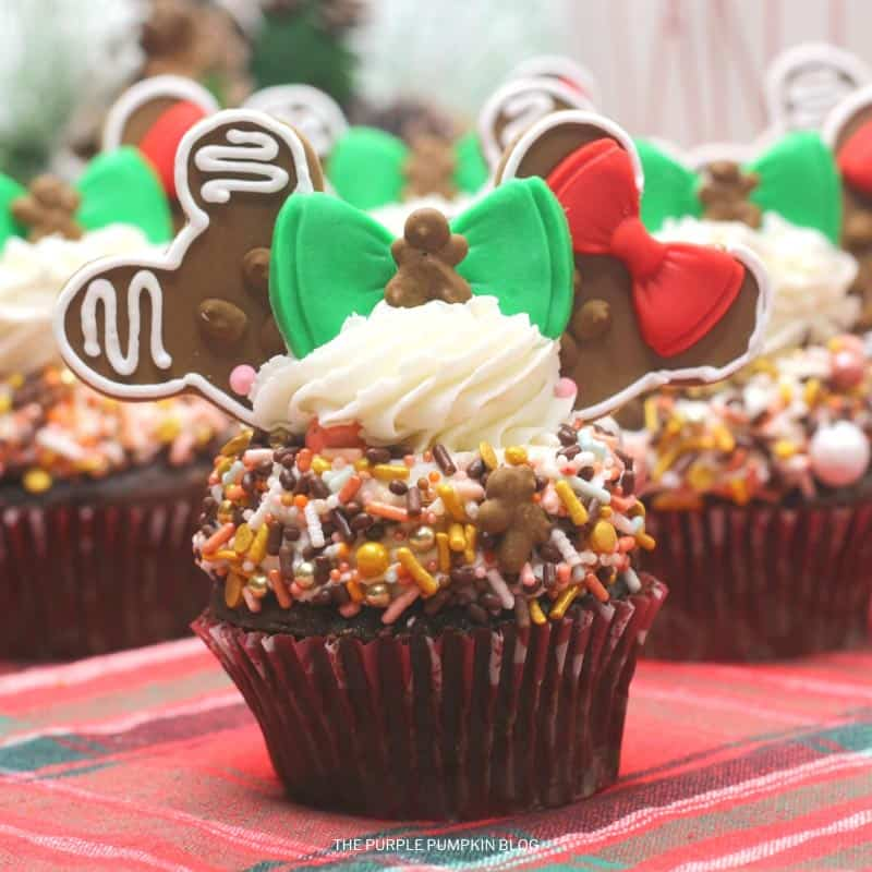 Gingerbread Mickey Minnie Cupcakes
