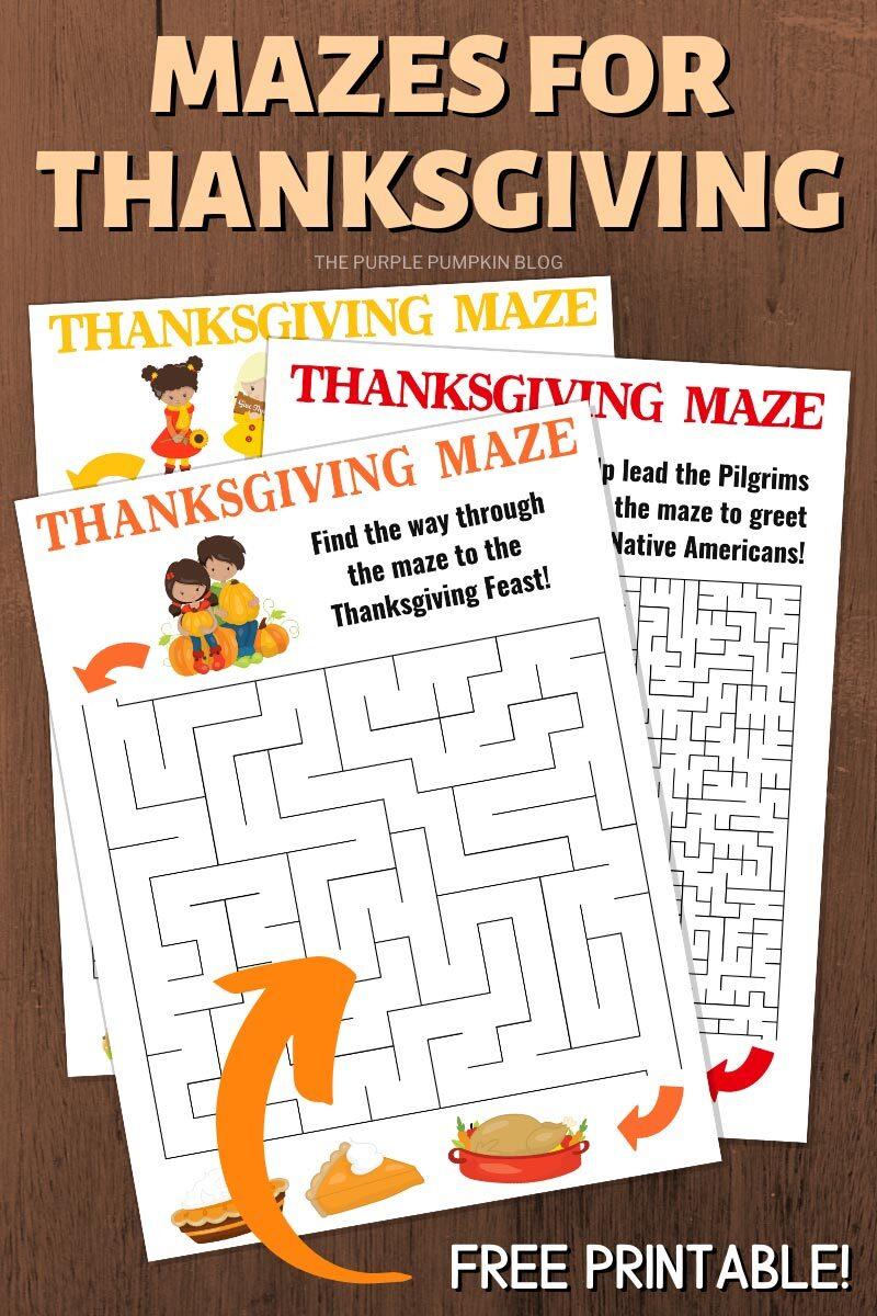 Mazes for Thanksgiving - Free Printable!