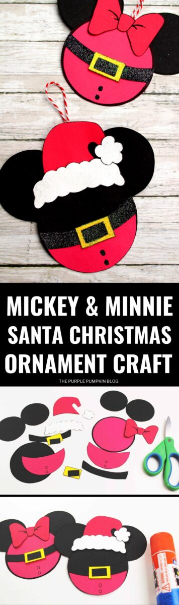 Mickey & Minnie Santa Disney Christmas Ornament Craft