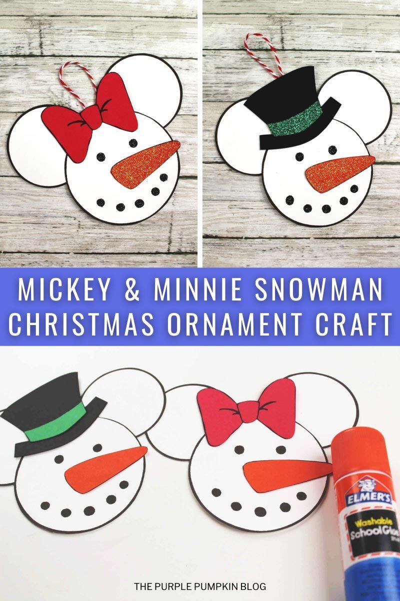 Mickey & Minnie Snowman Christmas Ornament Craft