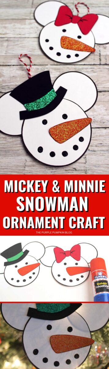 Minnie & Mickey Snowmen Disney Christmas Ornament Craft