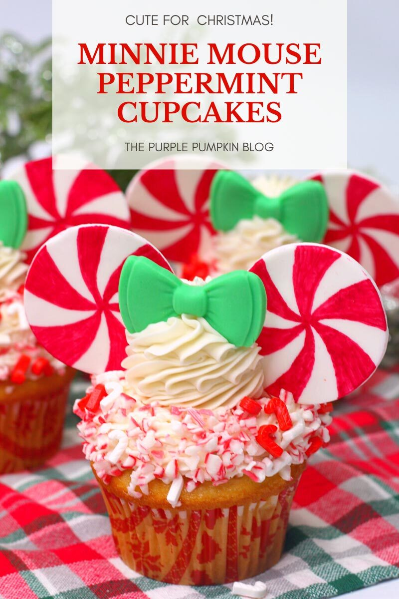 Minnie Mouse Peppermint Cupcakes - Cute for Christmas!