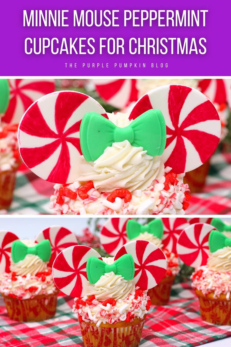 Minnie Mouse Peppermint Cupcakes for Christmas