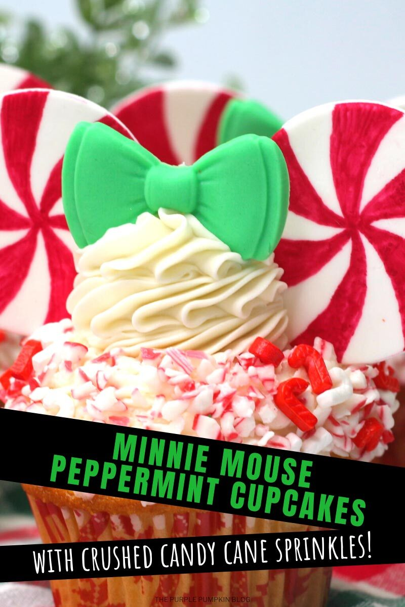 Minnie Mouse Peppermint Cupcakes with crush Candy Cane Sprinkles!