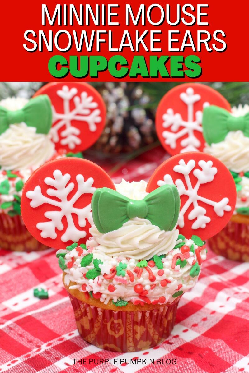 Minnie Mouse Snowflake Ears Cupcakes