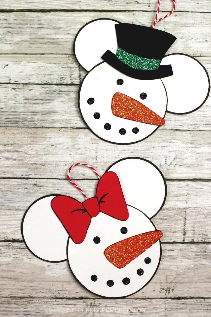 Minnie Mouse Snowman Ornament Craft