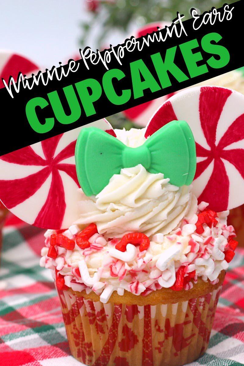 Minnie Peppermint Ears Cupcakes