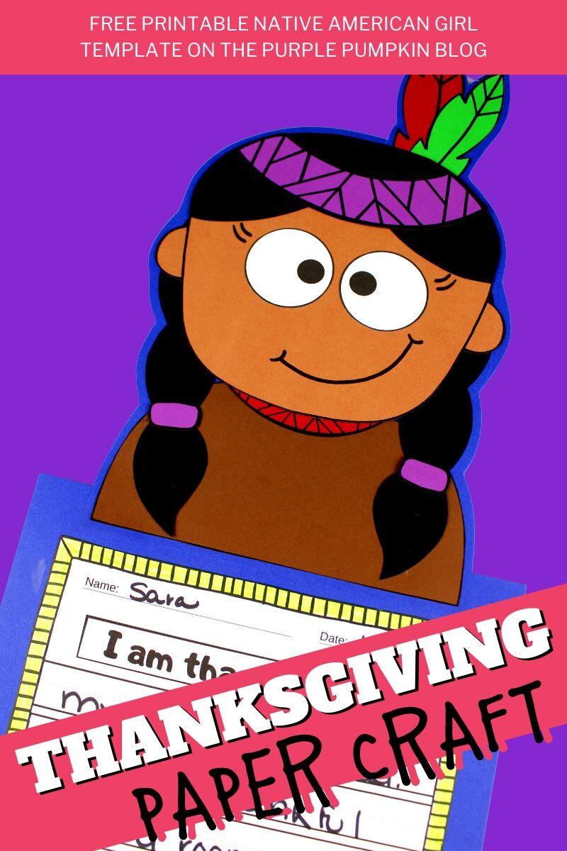 Native Girl Thanksgiving Paper Craft